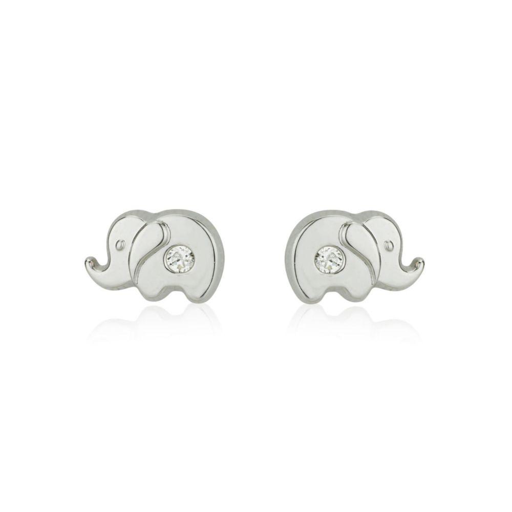 תכשיטים מזהב לילדות | עגילים צמודים מזהב לבן 14 קראט - פיל מנצנץ