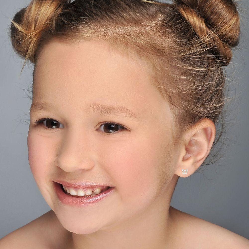 תכשיטים מזהב לילדות | עגילי זהב לבן צמודים -  פרפר עדין