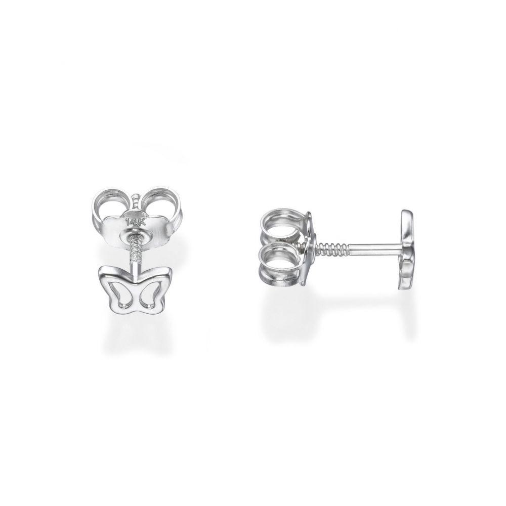 תכשיטים מזהב לילדות | עגילים צמודים מזהב לבן 14 קראט - פרפר עדין