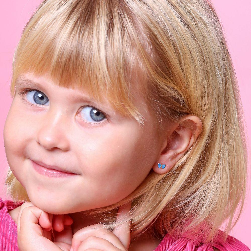 תכשיטים מזהב לילדות | עגילים צמודים מזהב צהוב 14 קראט - פרפר שמיימי