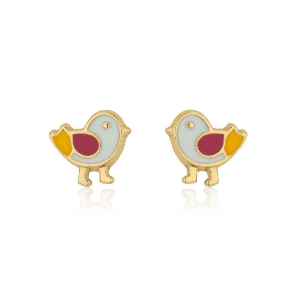 תכשיטים מזהב לילדות   עגילים צמודים מזהב צהוב 14 קראט - אפרוח ססגוני