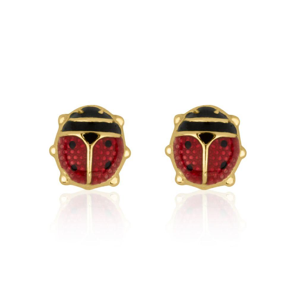 תכשיטים מזהב לילדות   עגילי זהב צמודים -  חיפושית ססגונית
