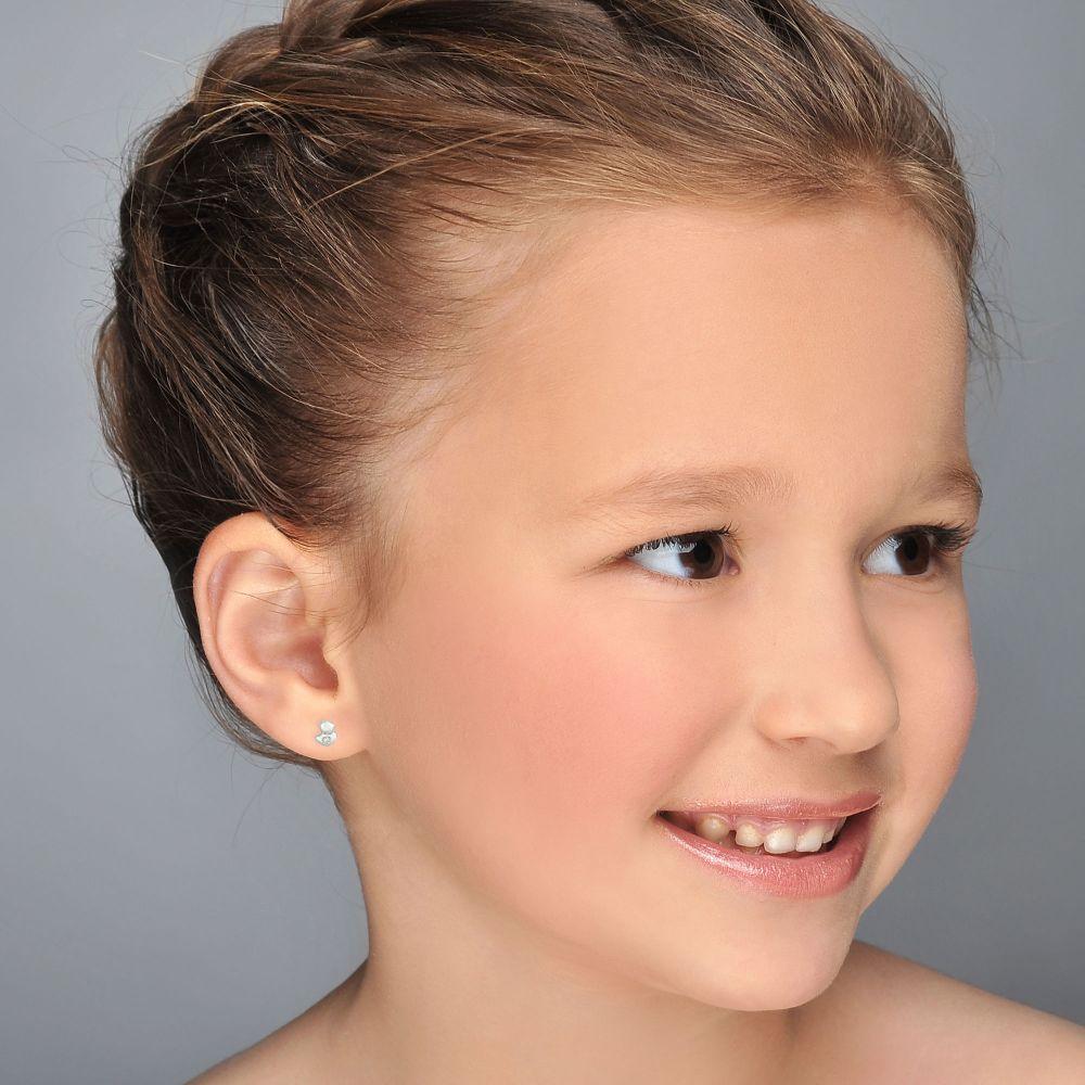 תכשיטים מזהב לילדות | עגילי זהב לבן צמודים -  אפרוח מנצנץ