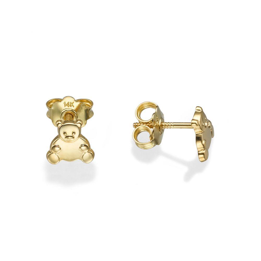 תכשיטים מזהב לילדות | עגילים צמודים מזהב צהוב 14 קראט - דובי מאושר
