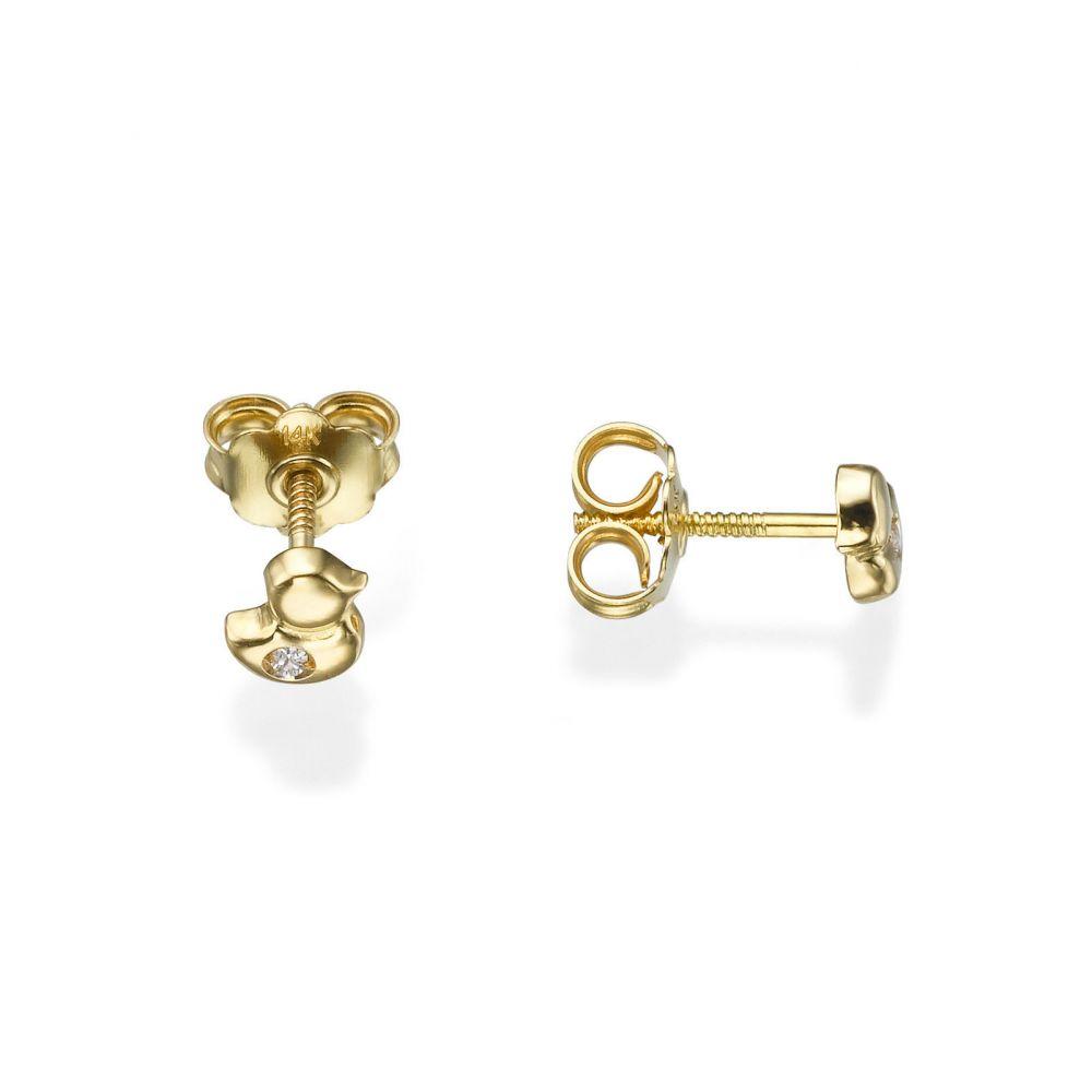 תכשיטים מזהב לילדות | עגילים צמודים מזהב צהוב 14 קראט - אפרוח מנצנץ
