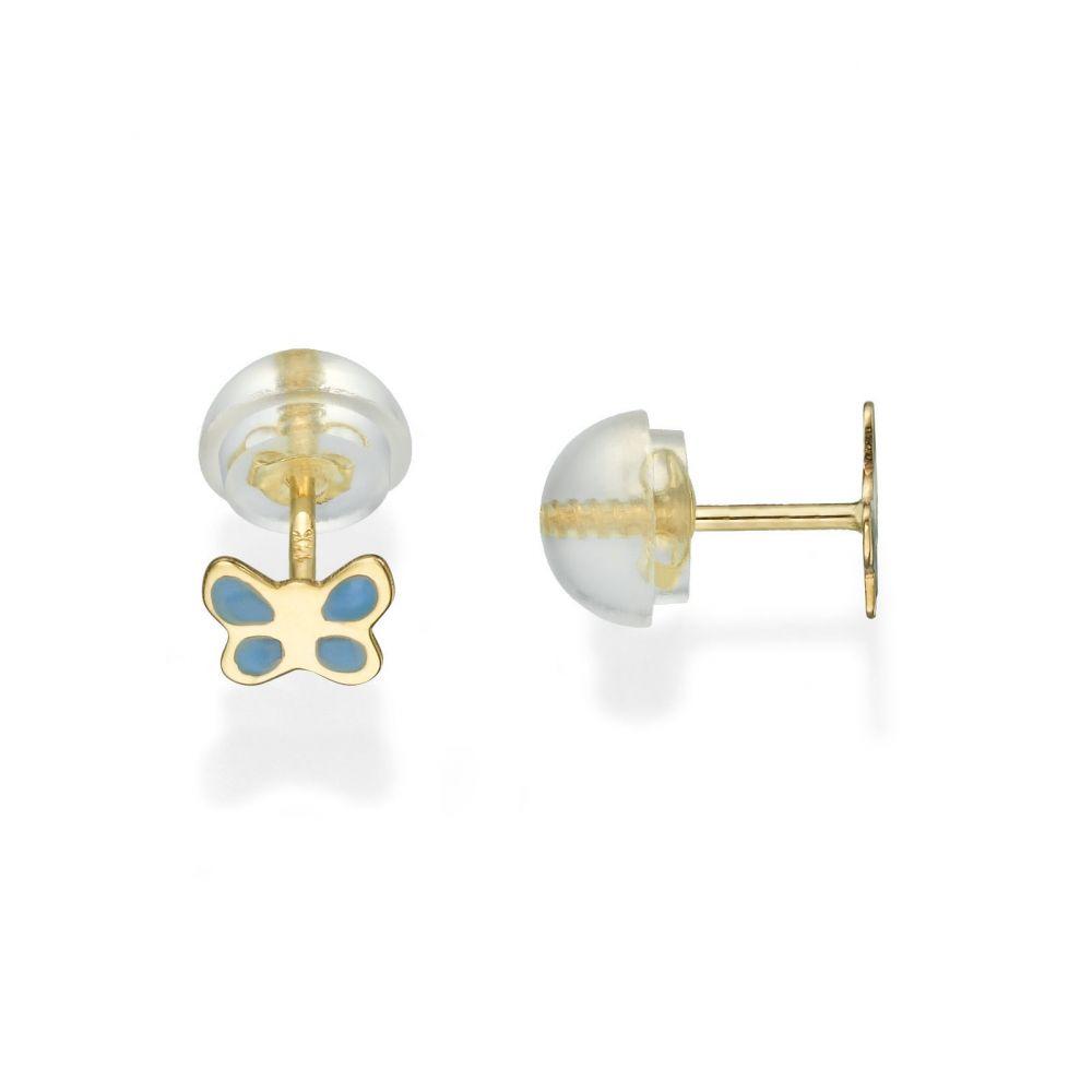 תכשיטים מזהב לילדות | עגילים צמודים מזהב צהוב 14 קראט - פרפר תכול - כנף