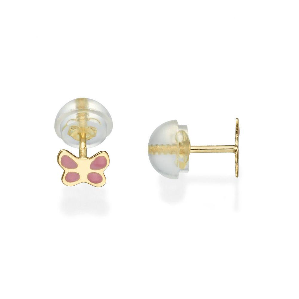 תכשיטים מזהב לילדות | עגילי זהב צמודים -  פרפר ורדרד