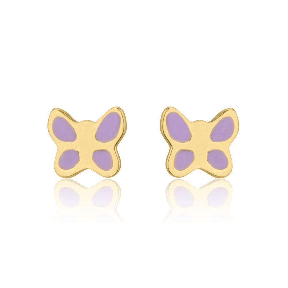 תכשיטים מזהב לילדות | עגילים צמודים מזהב צהוב 14 קראט - פרפר עם אופי