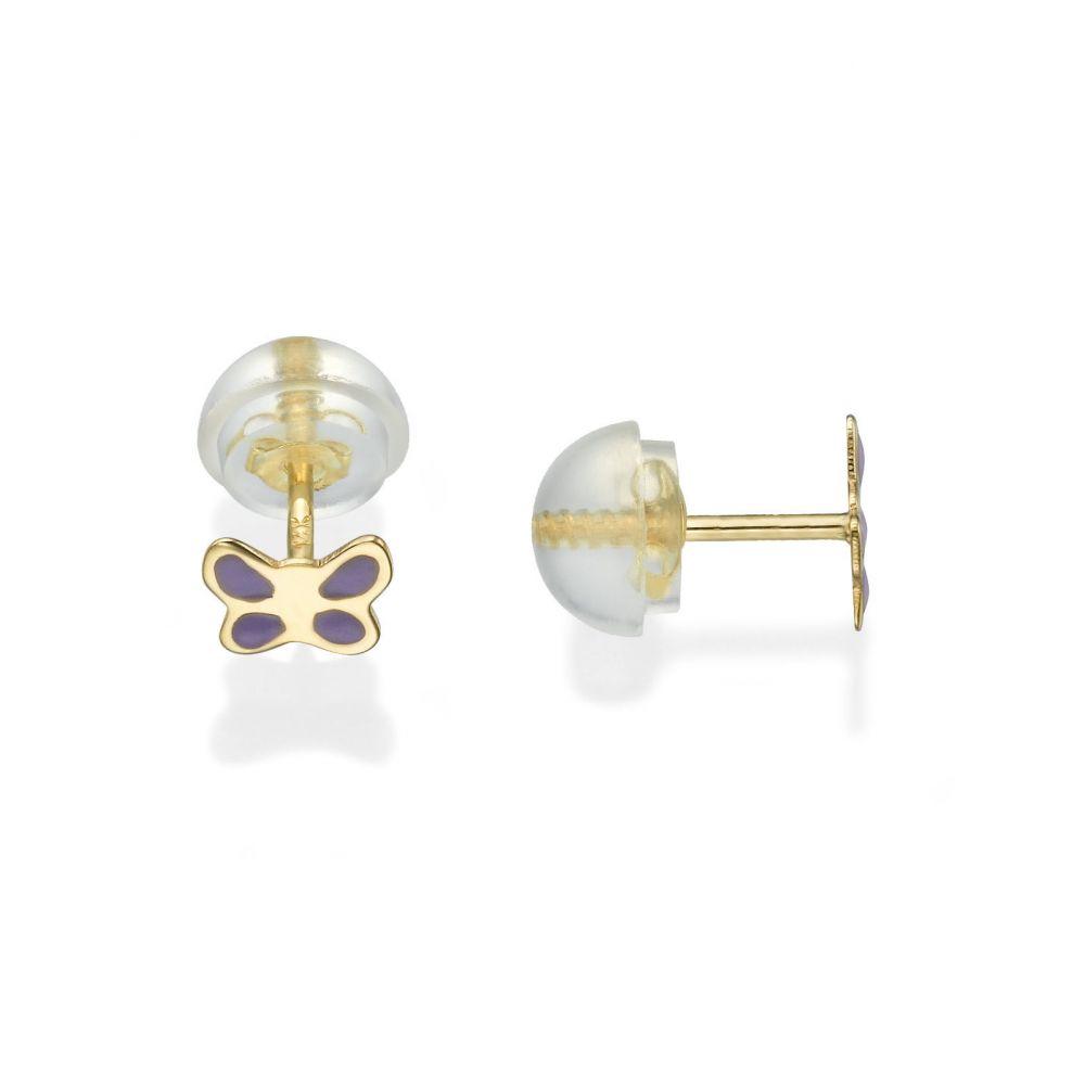 תכשיטים מזהב לילדות | עגילי זהב צמודים -  פרפר עם אופי