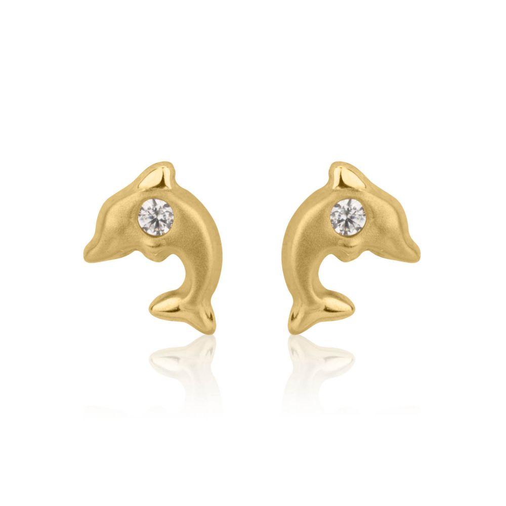 תכשיטים מזהב לילדות   עגילי זהב צמודים -  דולפין מנצנץ-מט