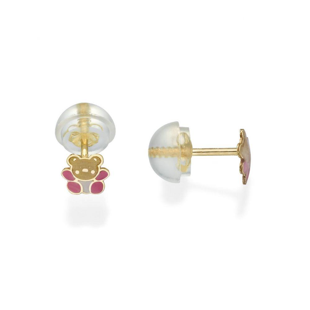 תכשיטים מזהב לילדות | עגילי זהב צמודים -  דובי אופטימי