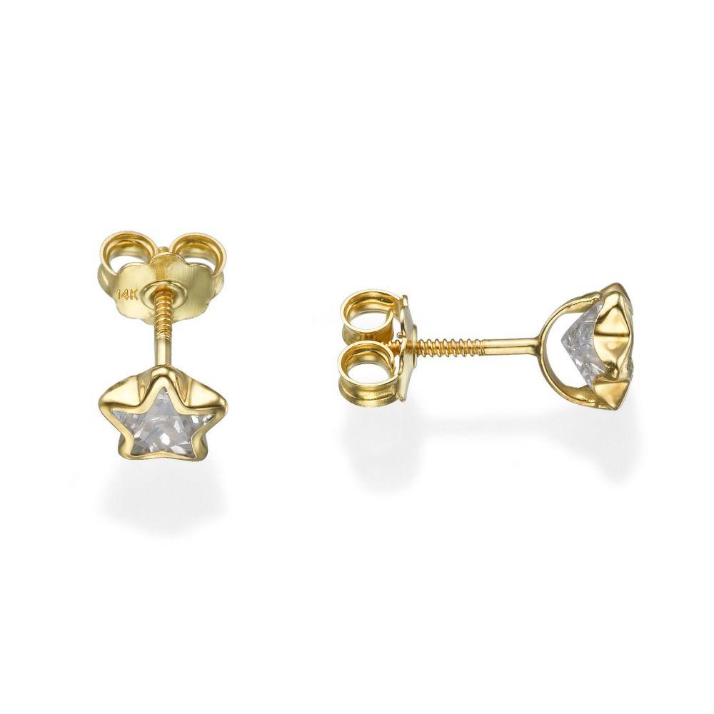 תכשיטים מזהב לילדות   עגילים צמודים מזהב צהוב 14 קראט - כוכב מהאגדות