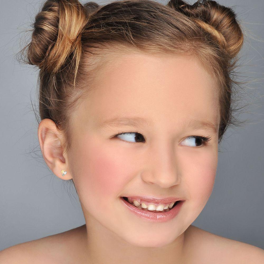 תכשיטים מזהב לילדות | עגילי זהב צמודים -  כוכב מלבב