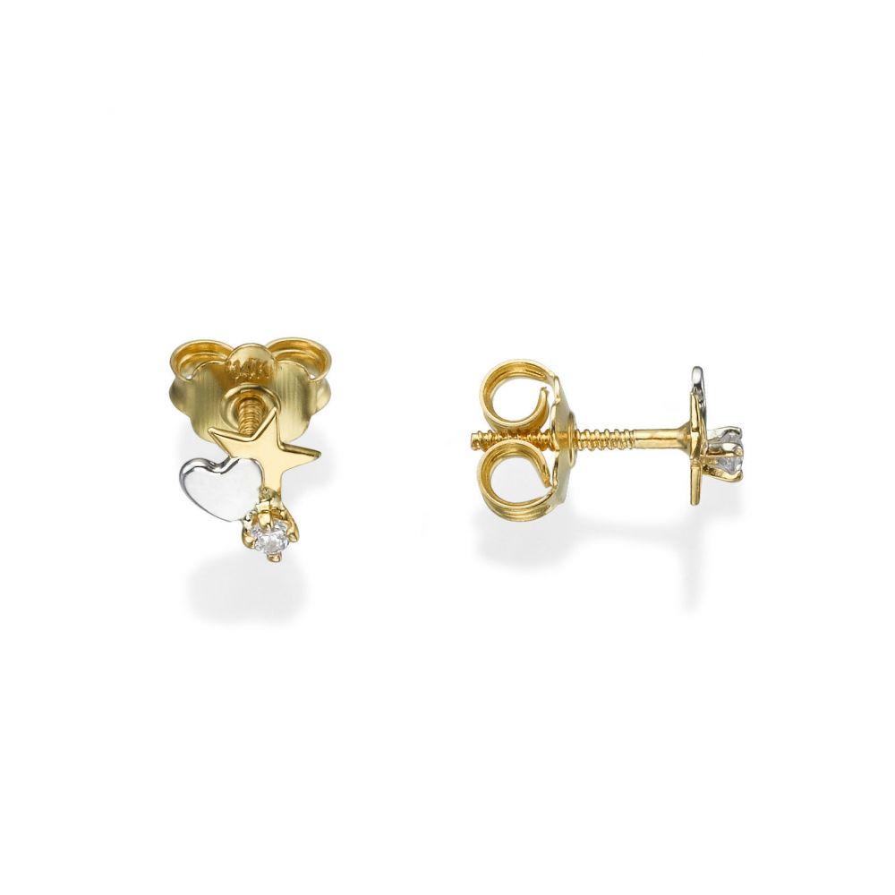 תכשיטים מזהב לילדות | עגילים צמודים מזהב צהוב 14 קראט - כוכב מלבב