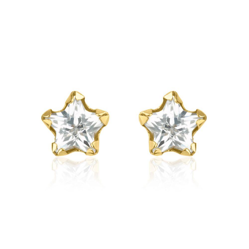 תכשיטים מזהב לילדות | עגילים צמודים מזהב צהוב 14 קראט - כוכב החן - קטן