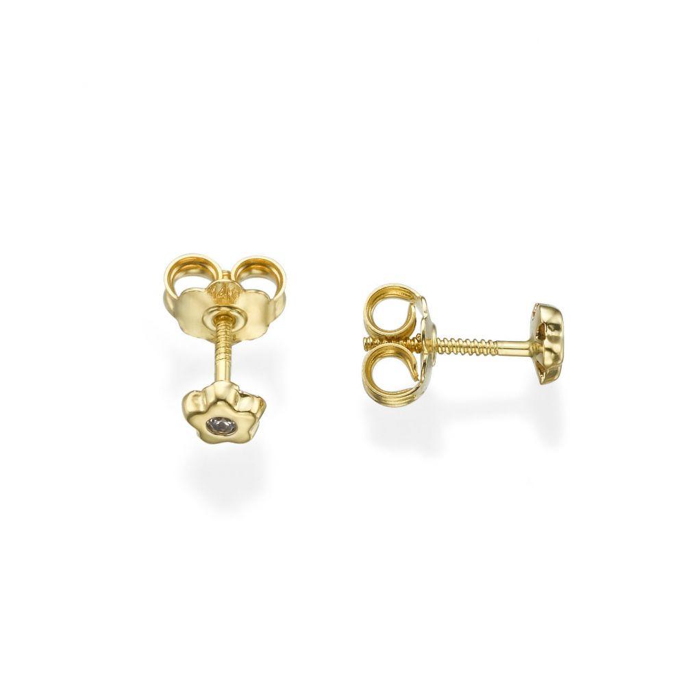 תכשיטים מזהב לילדות | עגילים צמודים מזהב צהוב 14 קראט - כוכב פורח קטן מאד