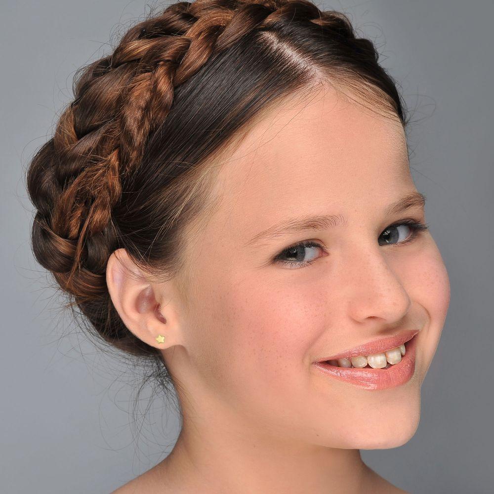 תכשיטים מזהב לילדות | עגילים צמודים מזהב צהוב 14 קראט - כוכב נילי - גדול