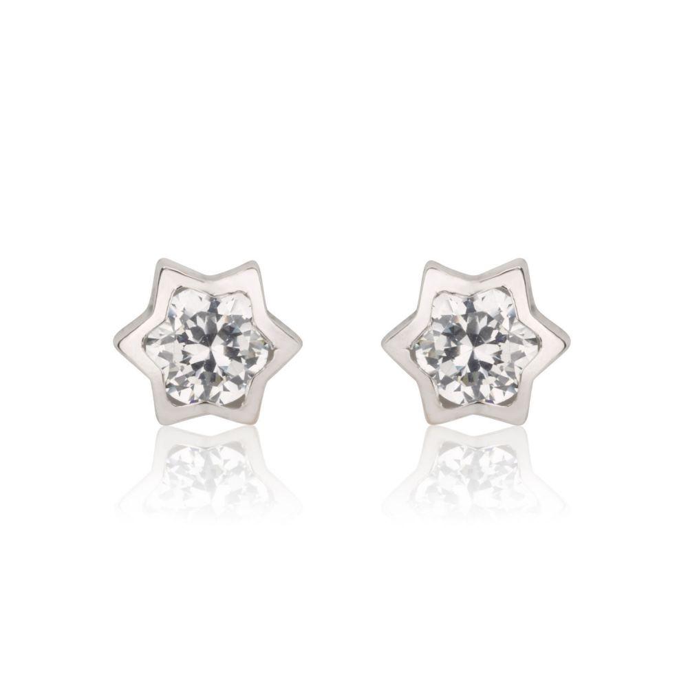 תכשיטים מזהב לילדות   עגילי זהב צמודים -  כוכב מנצנץ גדול