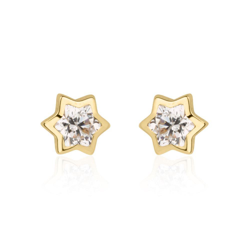 תכשיטים מזהב לילדות | עגילים צמודים מזהב צהוב 14 קראט - כוכב מנצנץ