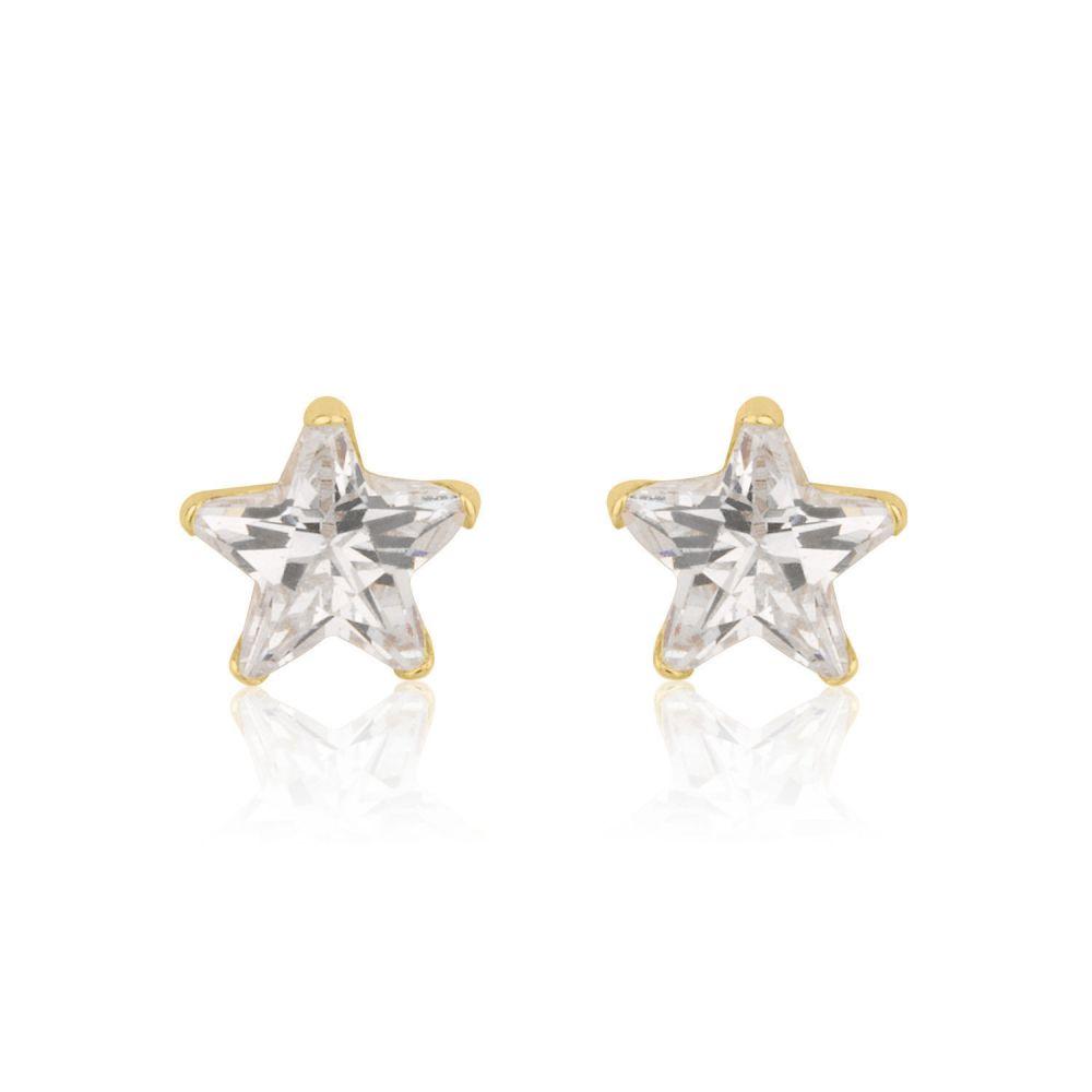 תכשיטים מזהב לילדות | עגילי זהב צמודים -  כוכב הצפון