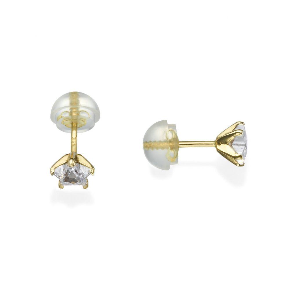 תכשיטים מזהב לילדות | עגילים צמודים מזהב צהוב 14 קראט - כוכב הצפון