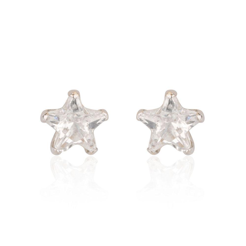 תכשיטים מזהב לילדות | עגילי זהב לבן צמודים -  כוכב הצפון-קטן