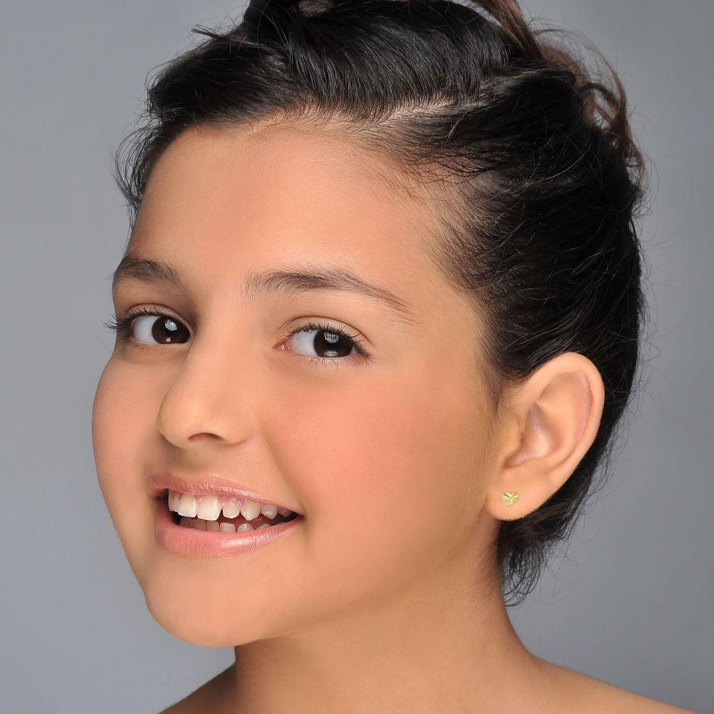 תכשיטים מזהב לילדות | עגילים צמודים מזהב צהוב 14 קראט - לב משמעותי