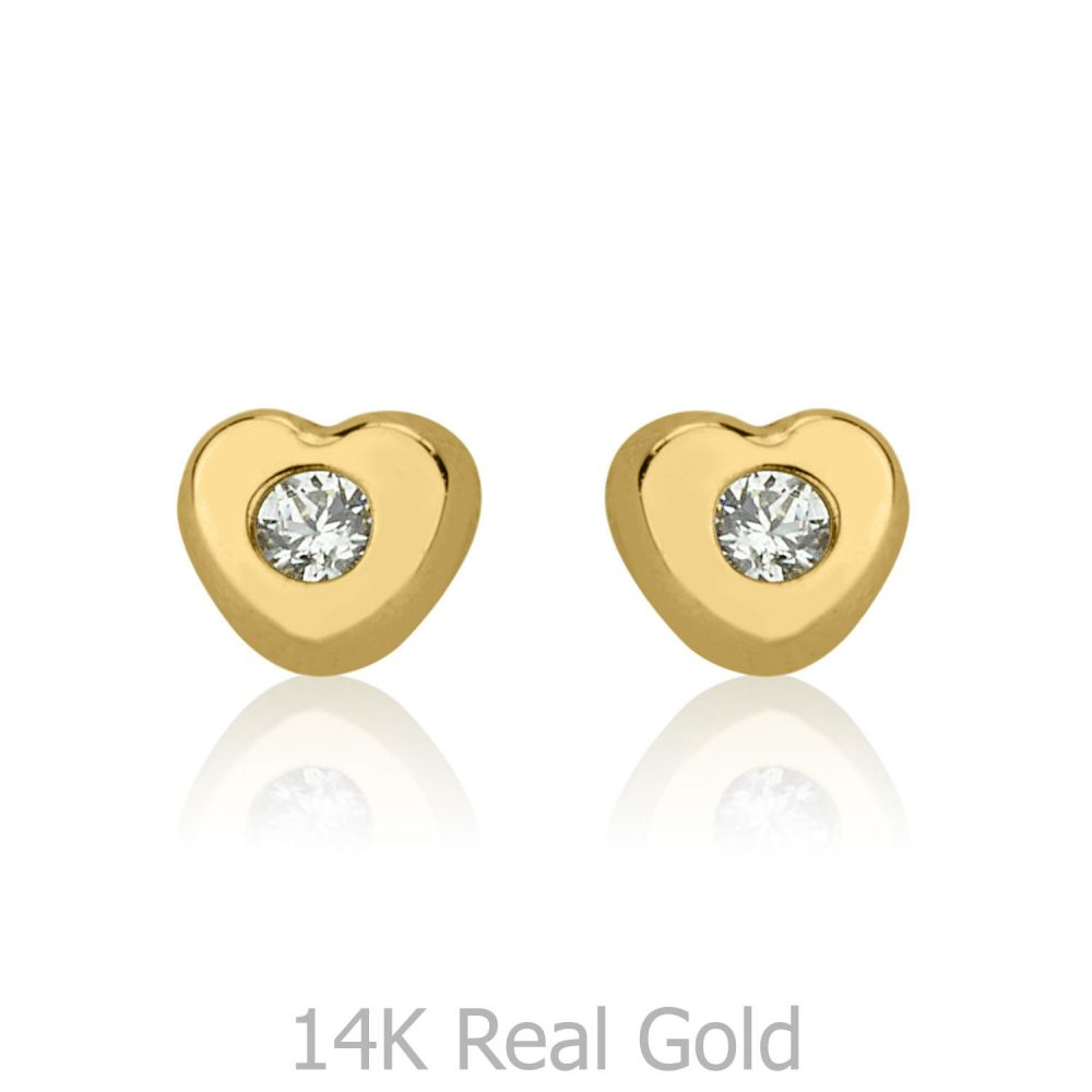 תכשיטים מזהב לילדות | עגילים צמודים מזהב צהוב 14 קראט - לב מנצנץ - קטן