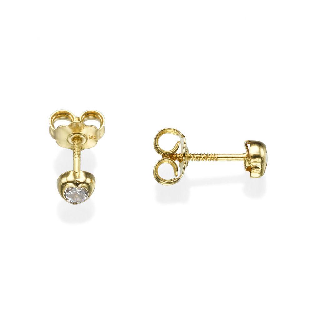 תכשיטים מזהב לילדות | עגילים צמודים מזהב צהוב 14 קראט - לב זורח - קטן