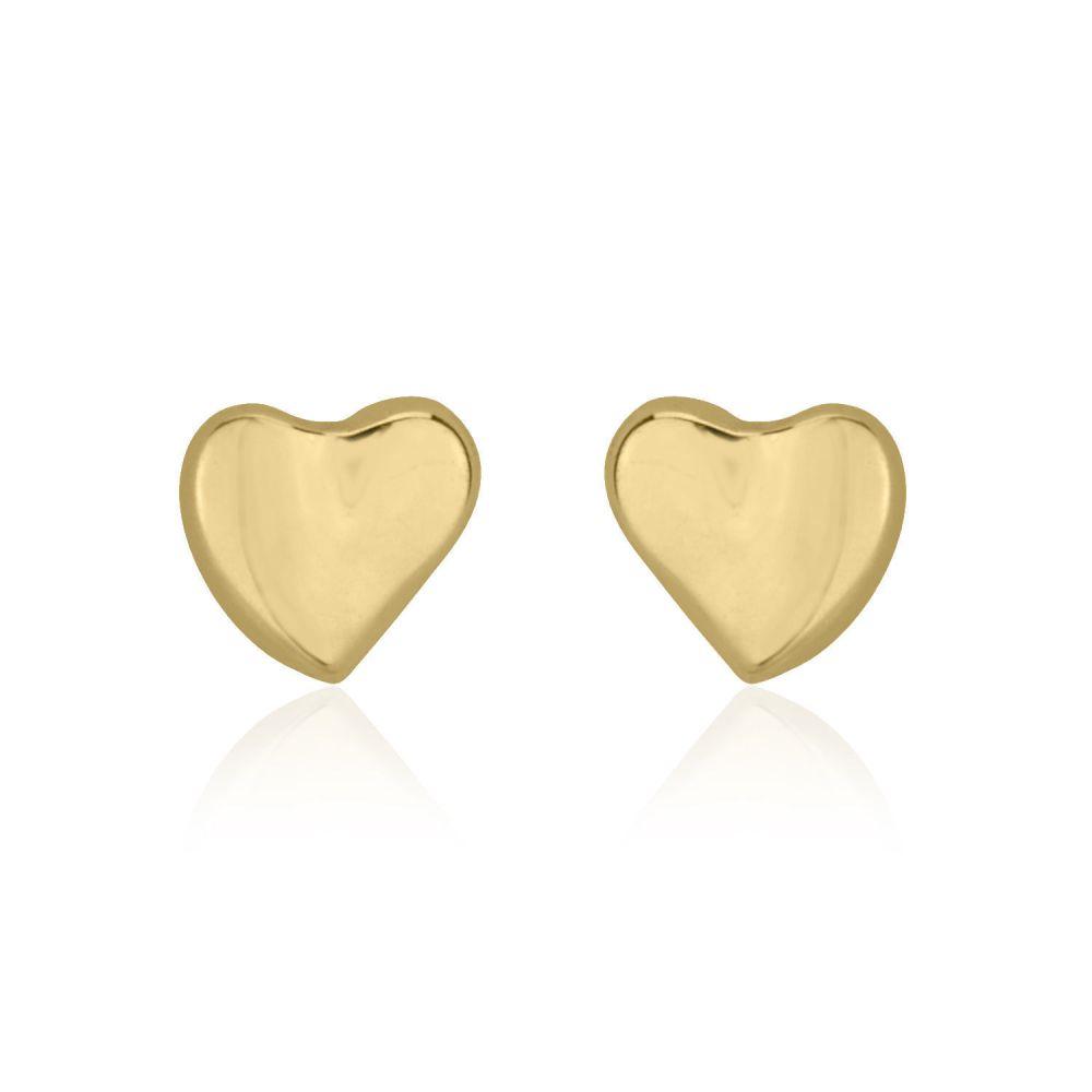 תכשיטים מזהב לילדות | עגילים צמודים מזהב צהוב 14 קראט - לב אוהב