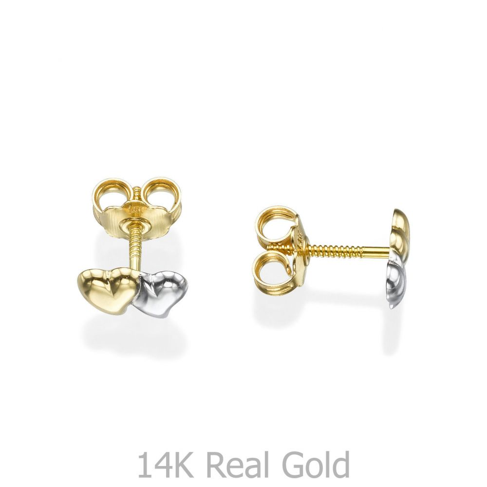 תכשיטים מזהב לילדות   עגילים צמודים מזהב צהוב ולבן 14 קראט - לבבות משיקים