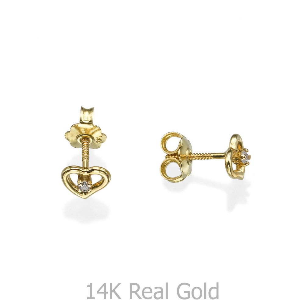 תכשיטים מזהב לילדות | עגילים צמודים מזהב צהוב 14 קראט - לב פיוטי