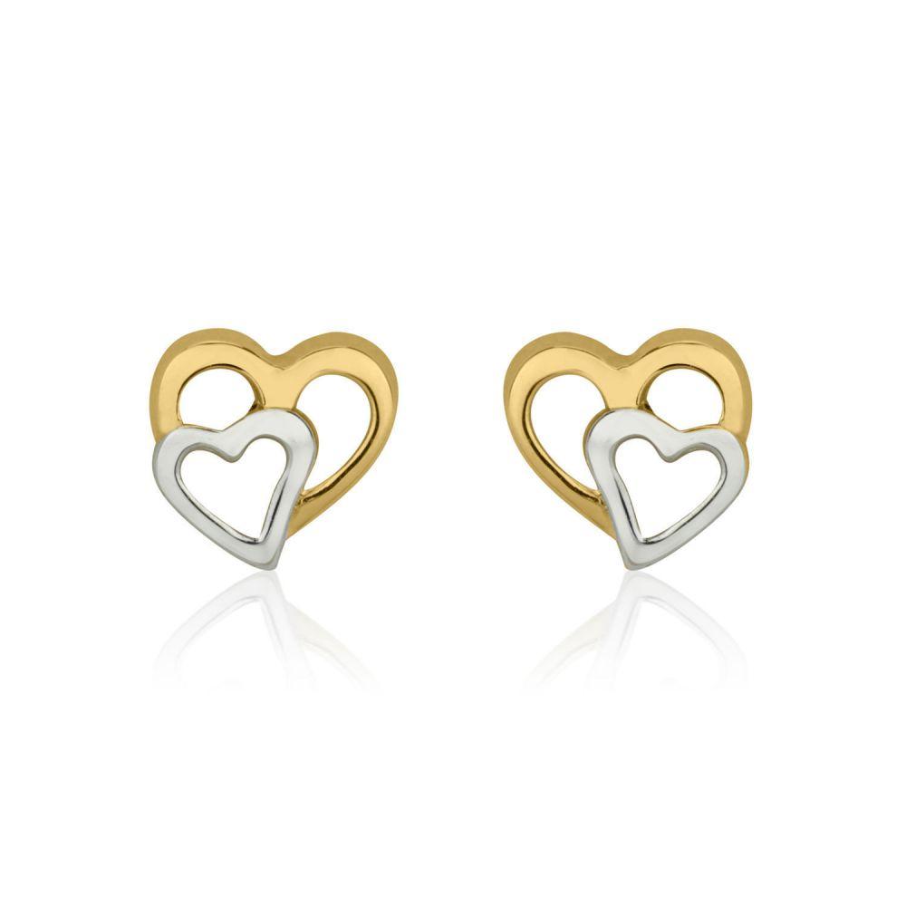 תכשיטים מזהב לילדות | עגילי זהב צמודים -  לבבות מחוברים