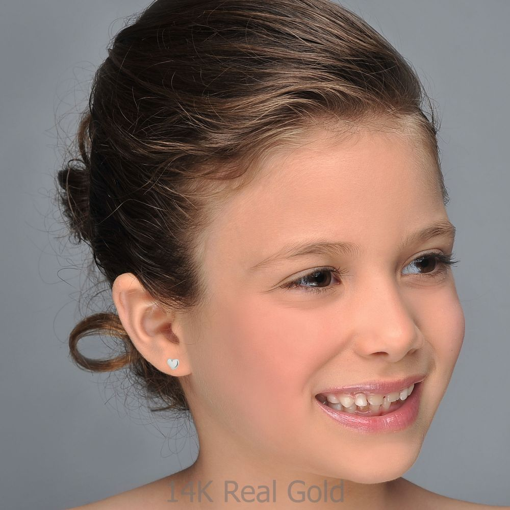 תכשיטים מזהב לילדות | עגילים צמודים מזהב לבן 14 קראט - לב קלאסי וקטן