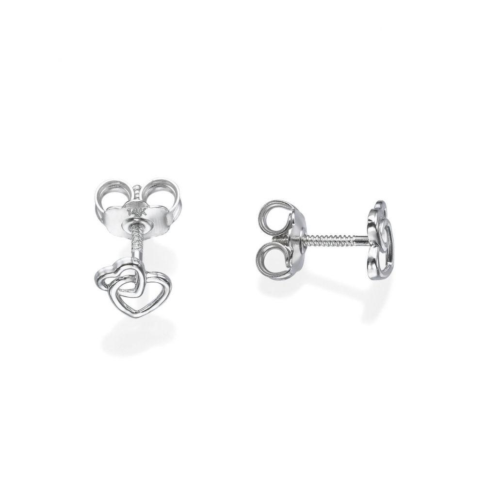 תכשיטים מזהב לילדות | עגילים צמודים מזהב לבן 14 קראט - לבבות משולבים