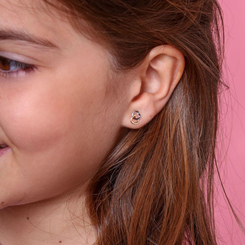 תכשיטים מזהב לילדות | עגילי זהב צמודים -  לבבות מחושקים
