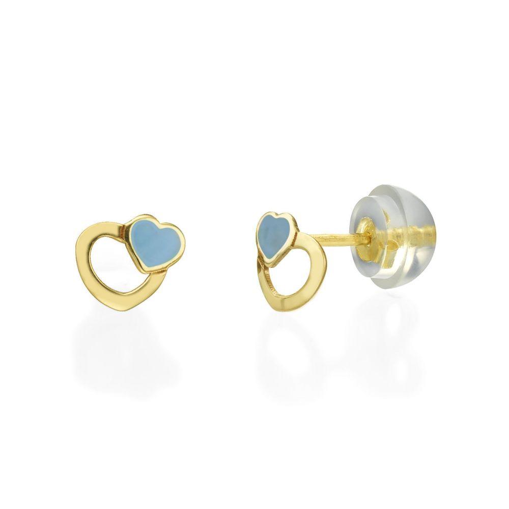 תכשיטים מזהב לילדות | עגילי זהב צמודים -  לבבות אוהבים