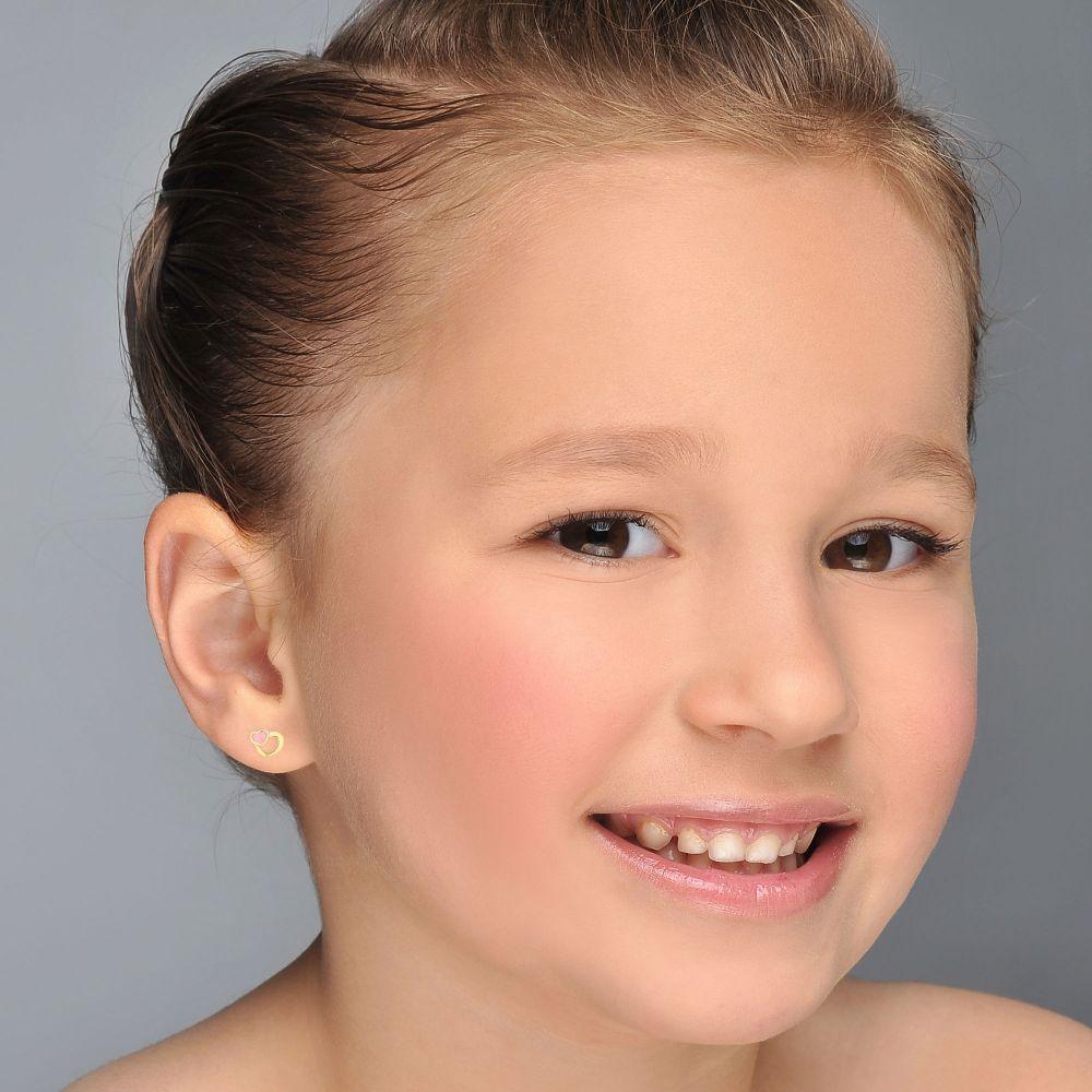 תכשיטים מזהב לילדות | עגילים צמודים מזהב צהוב 14 קראט - לבבות אופטימיים