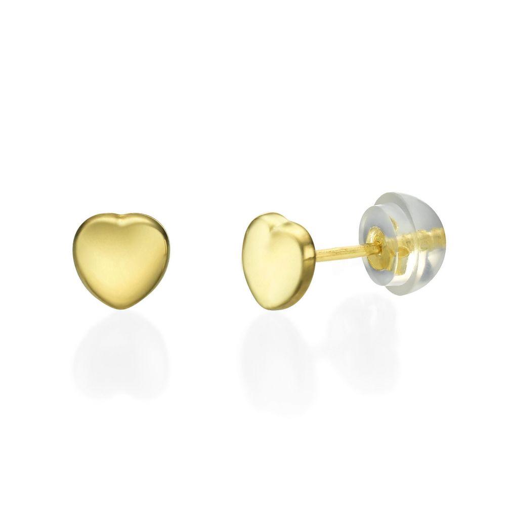 תכשיטים מזהב לילדות | עגילים צמודים מזהב צהוב 14 קראט - לב מרגש