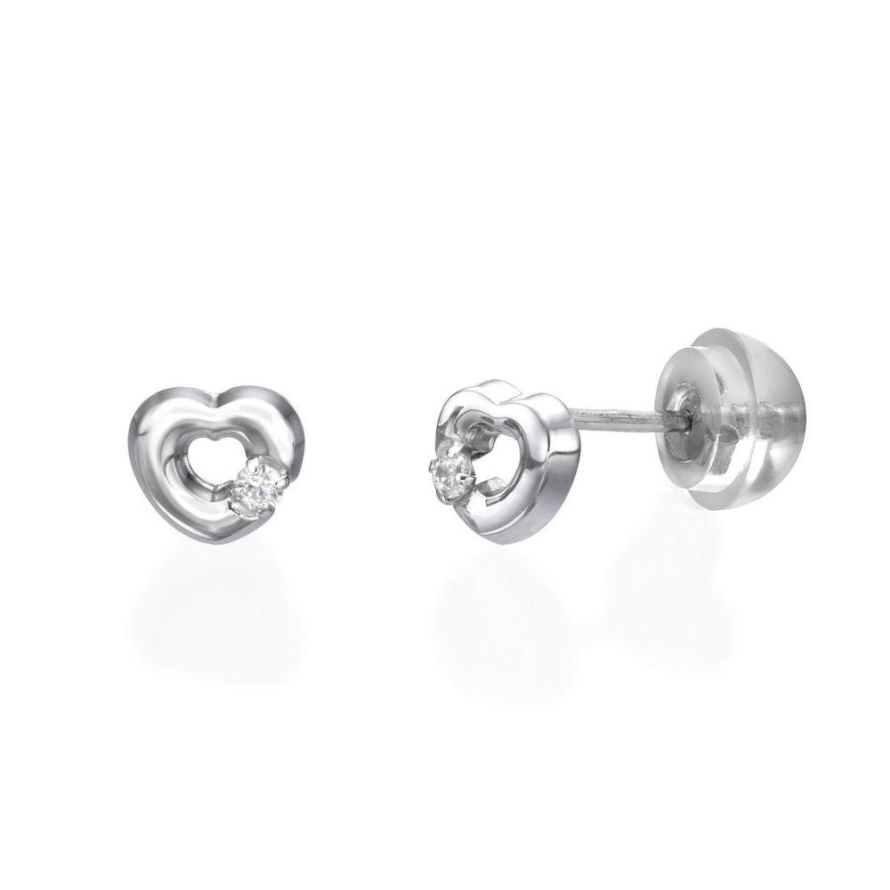תכשיטים מזהב לילדות | עגילי זהב צמודים -  לב סימפוניה