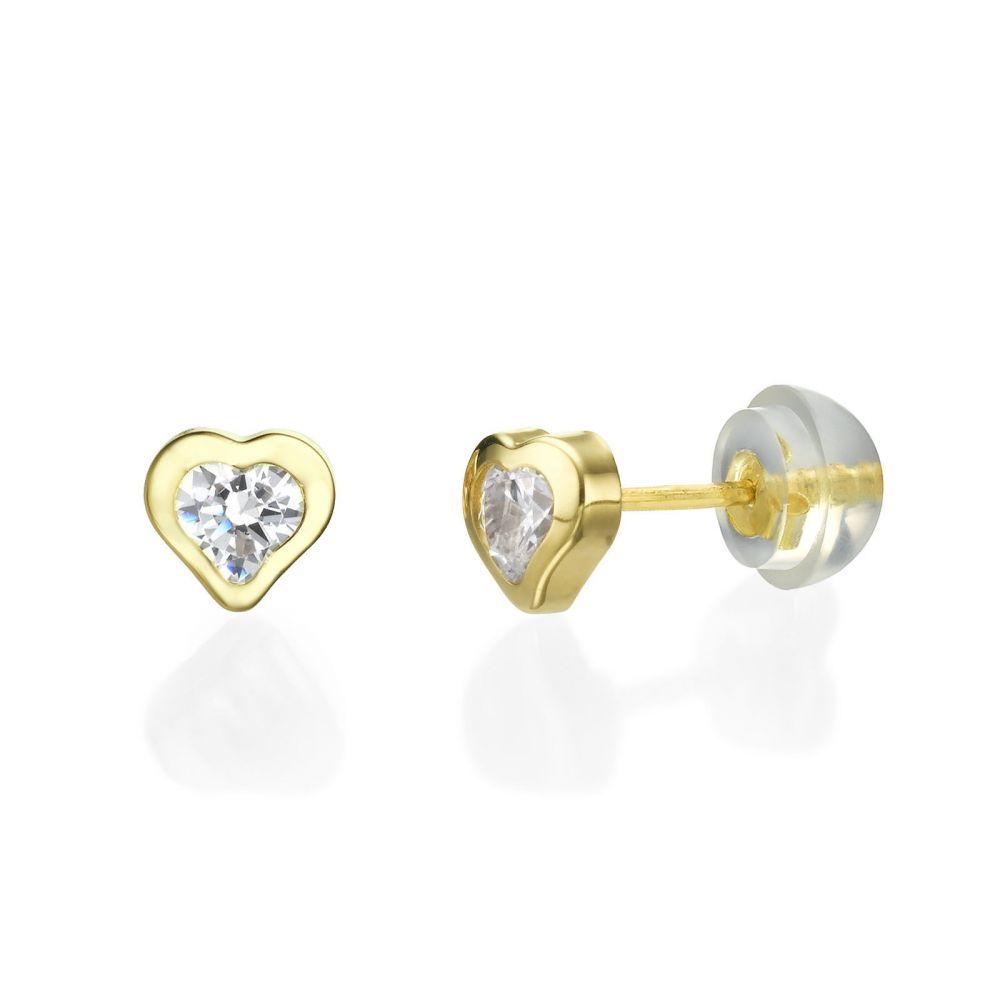 תכשיטים מזהב לילדות | עגילי זהב צמודים -  לב מלהיב