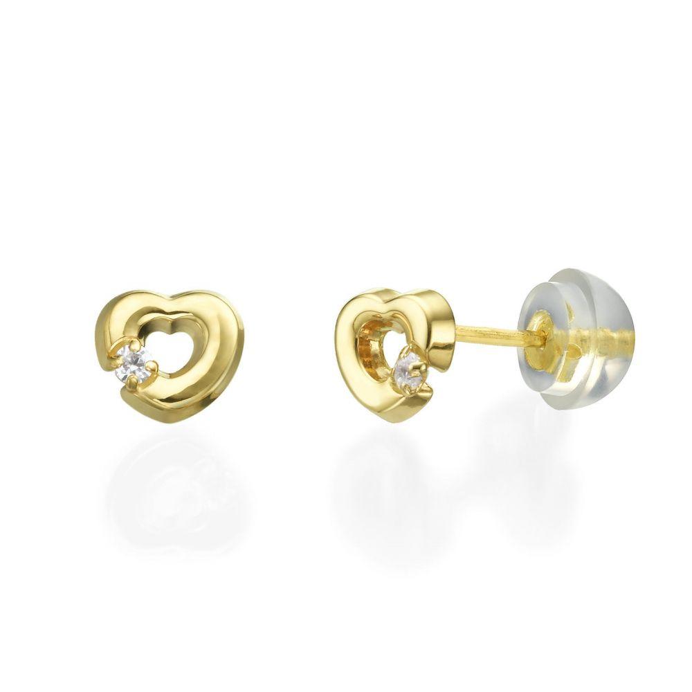 תכשיטים מזהב לילדות | עגילים צמודים מזהב צהוב 14 קראט - לב חינני
