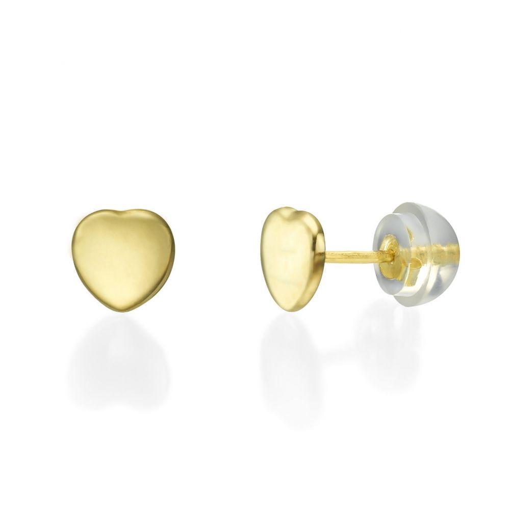 תכשיטים מזהב לילדות | עגילים צמודים מזהב צהוב 14 קראט - לב קלאסי חלק