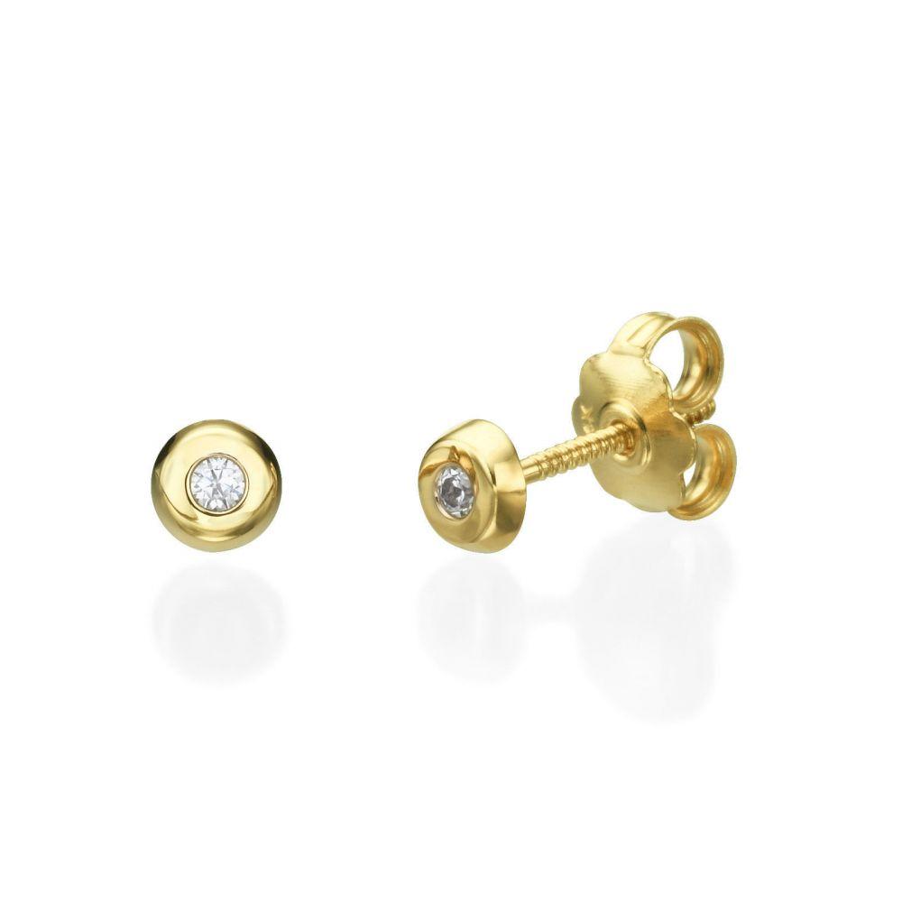 תכשיטים מזהב לילדות   עגילים צמודים מזהב צהוב 14 קראט - עיגול יפעה קטן
