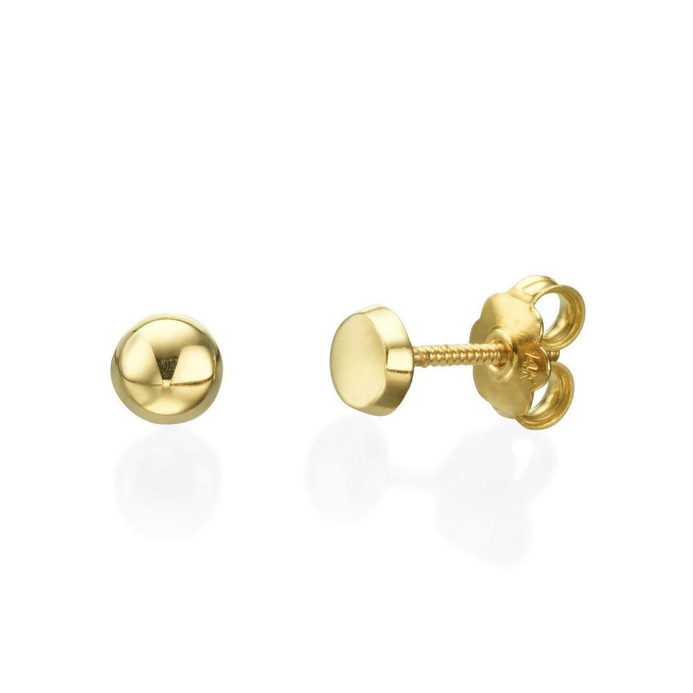 תכשיטים מזהב לילדות | עגילים צמודים מזהב צהוב 14 קראט - עיגול כפתור