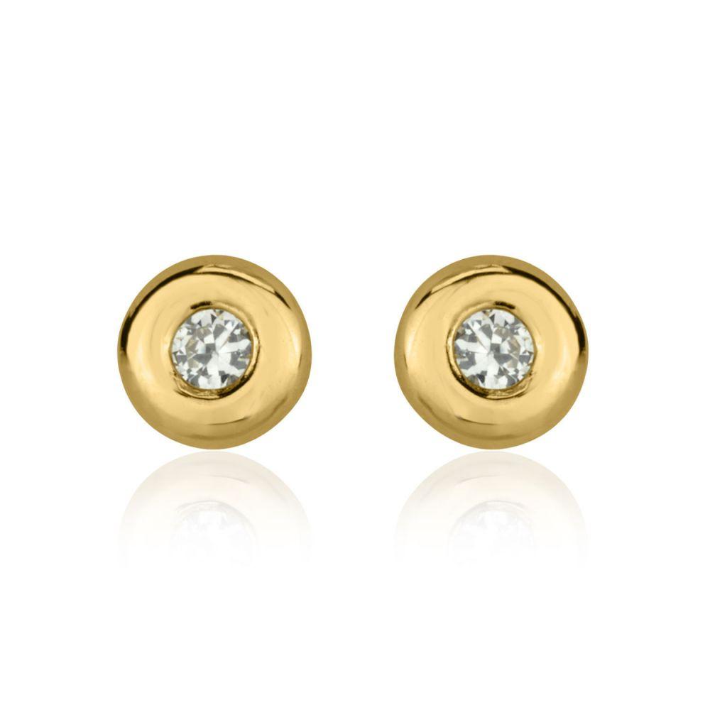 תכשיטים מזהב לילדות | עגילים צמודים מזהב צהוב 14 קראט - עיגול יפעה - גדול