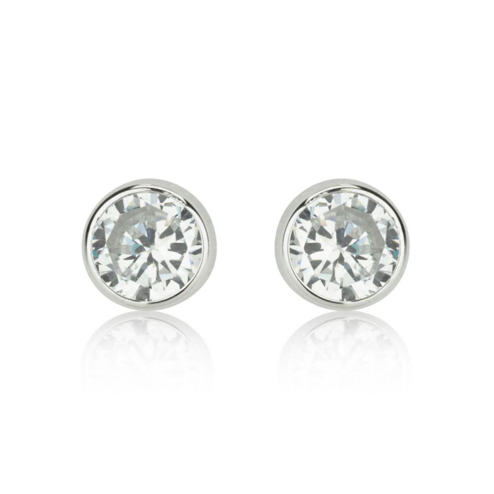 תכשיטים מזהב לילדות | עגילים צמודים מזהב לבן 14 קראט - עיגול קסם לבן