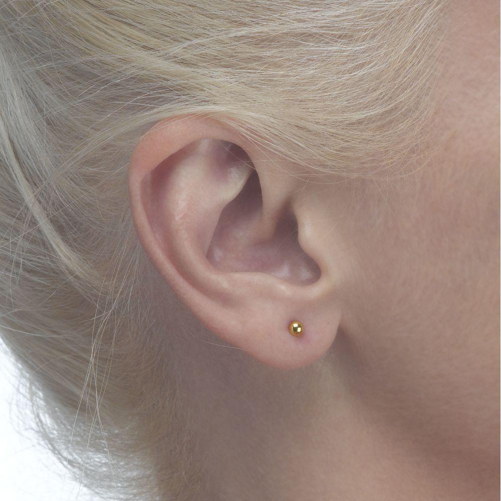 תכשיטים מזהב לילדות | עגילי זהב צמודים -  עיגול קלאסי-קטן