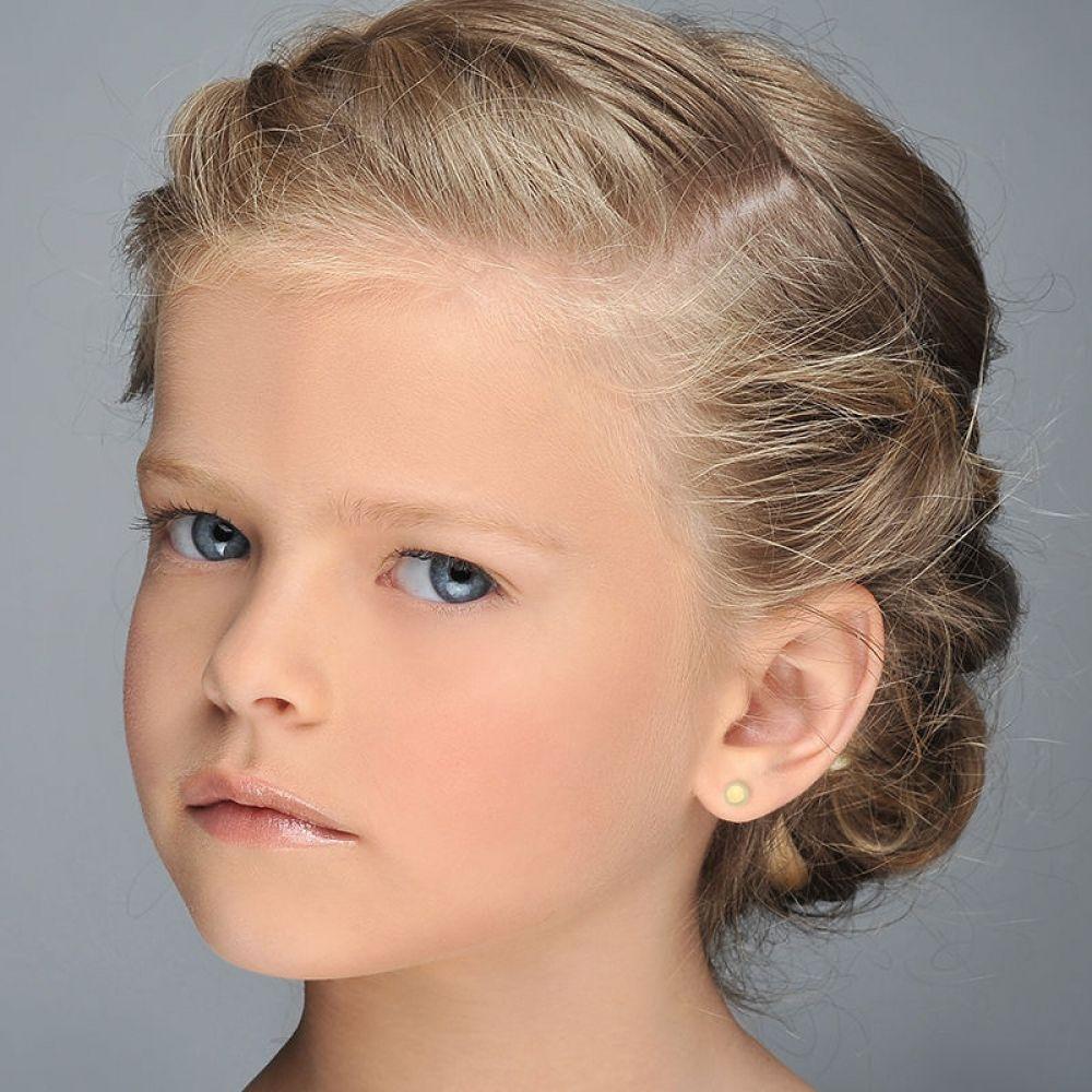 תכשיטים מזהב לילדות   עגילים צמודים מזהב צהוב 14 קראט - עיגול קלאסי
