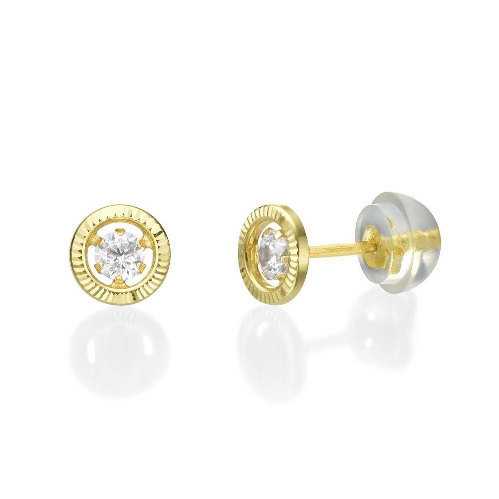 תכשיטים מזהב לילדות | עגילים צמודים מזהב צהוב 14 קראט - עיגול קריסטל